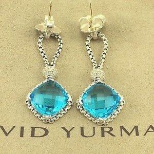 David Yurman Blue Topaz Cushion on Point Earrings